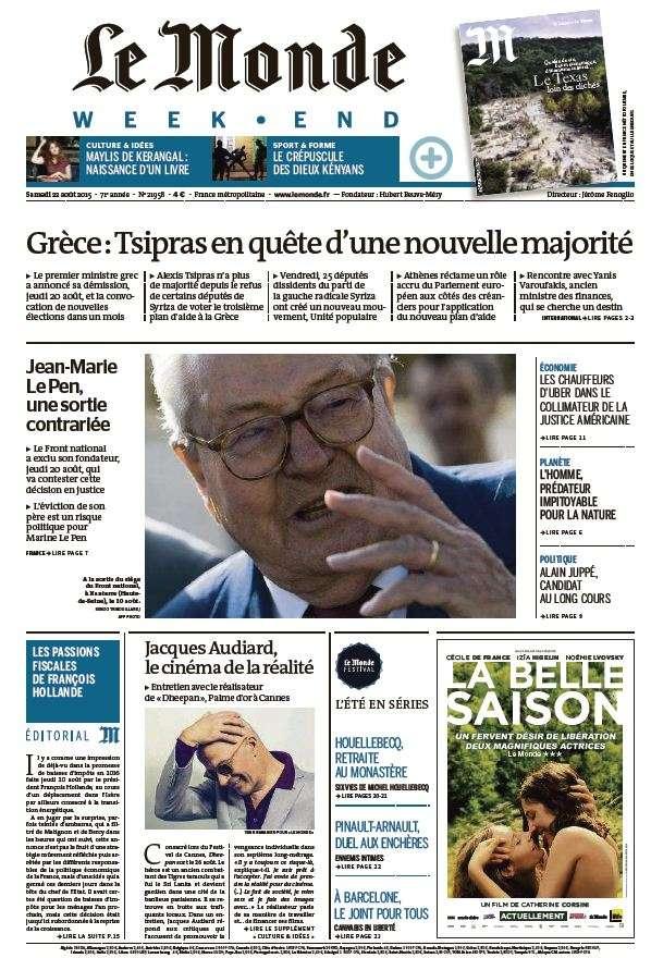 Le Monde du Samedi 22 Aout 2015
