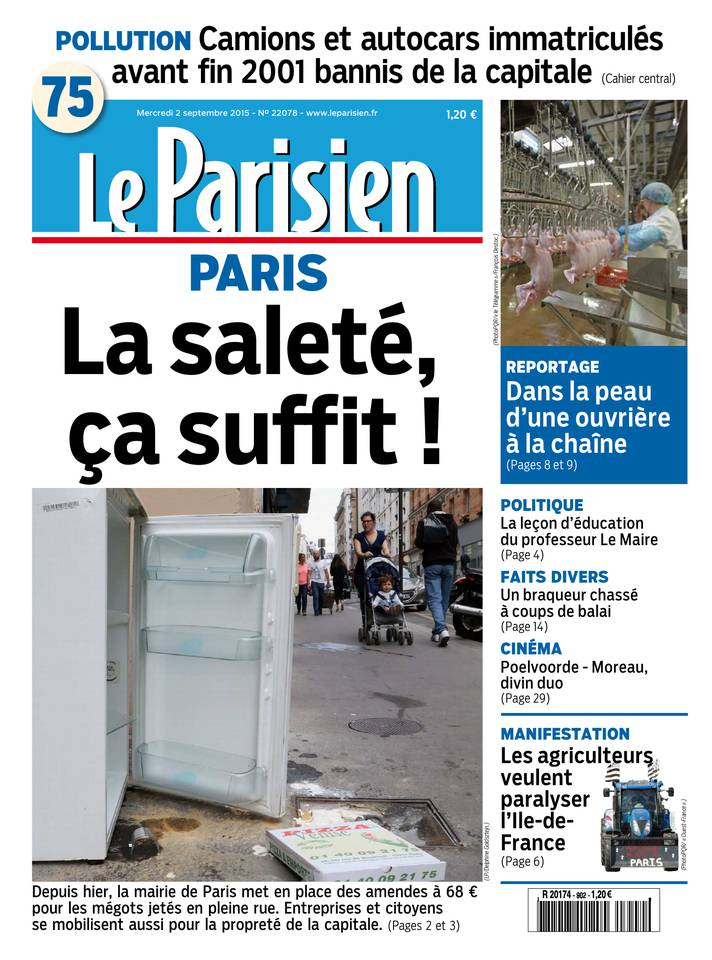Le Parisien + Journal de Paris du Mercredi 2 Septembre 2015