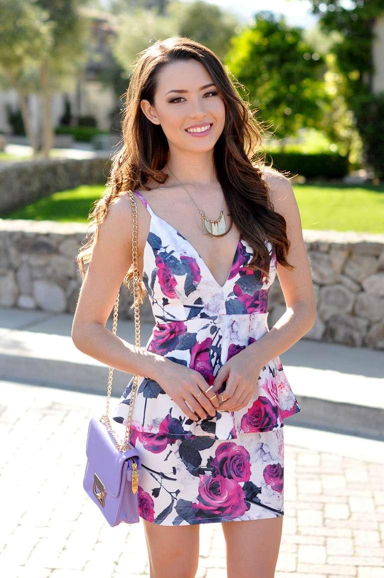 floral dress_lavender handbag_nude platform sandals_spring look_easter outfit