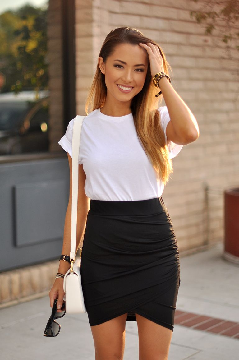 black wrap skirt_white crop top_jeffrey campbell