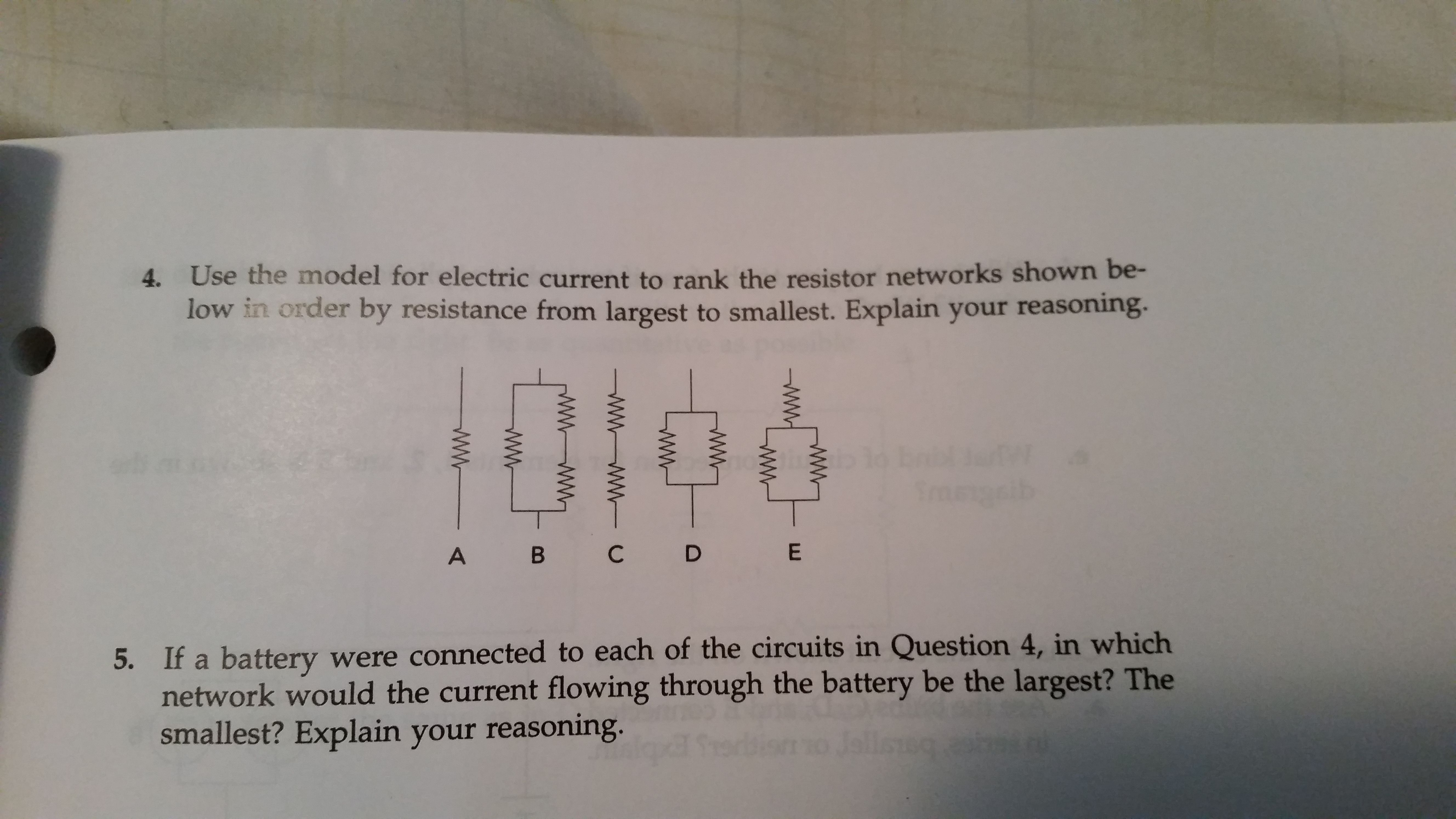 Solved 4 Use The Model For Electric Current To Rank This Series Circuit Shows Four Resistances In Sequence With A Battery Image Resistor Networks Shown