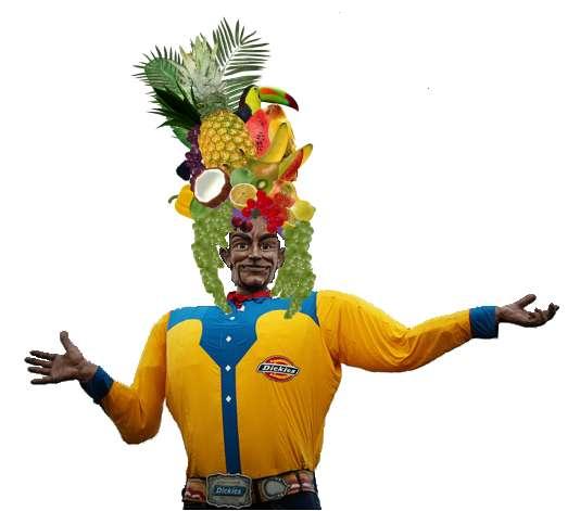 Big Tex in Fruit Hat