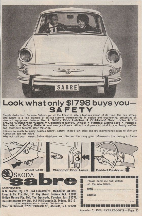 Look what only $1798 buys you: safety. Skoda Sabre.