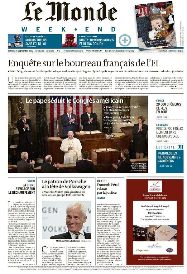 Le Monde Weekend et 4 Suppléments du Samedi 26 Septembre 2015