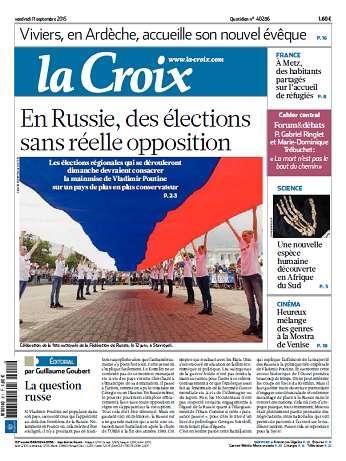 La Croix Du Vendredi 11 Septembre 2015