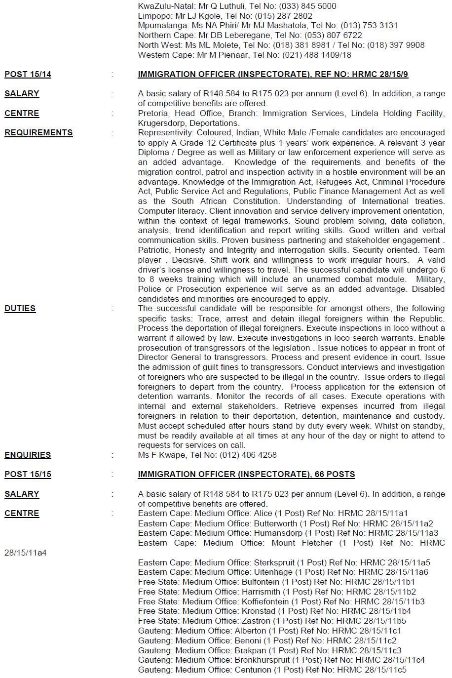 Home Affairs Circular 15 Of 2015   DPSA Vacancies