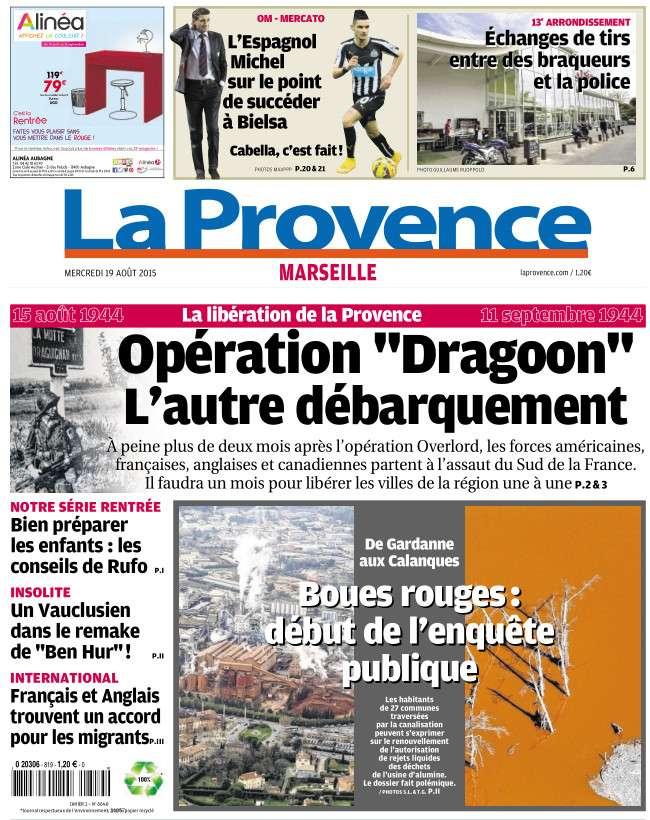 La Provence Marseille du Mercredi 19 Aout 2015