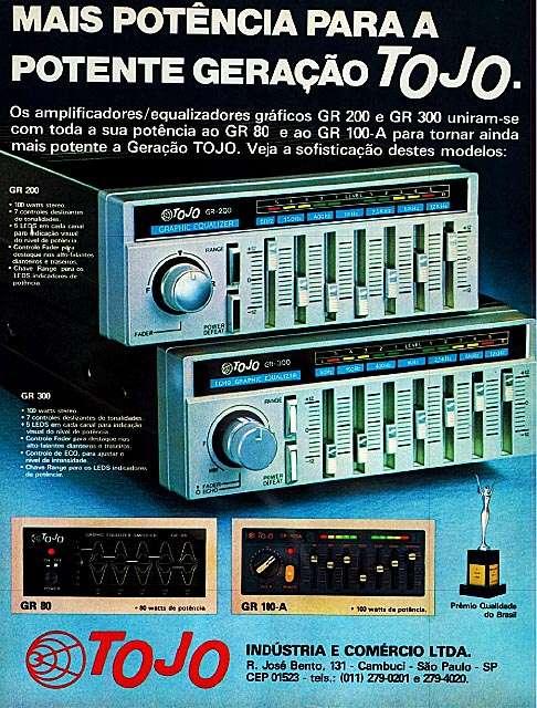 Mais potência para a potente geração Tojo. Os amplificadores/equalizadores gráficos GR 200 e GR 300 unirm-se com toda a sua potência ao GR 80 e ao GR 100-A, para tomar ainda mais potente a Geração Tojo.