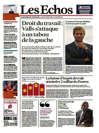 Les Echos Du Lundi 31 Aout 2015