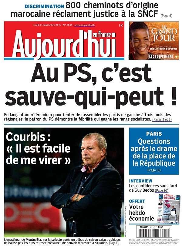 Aujourd'Hui en France du Lundi 21 Septembre 2015