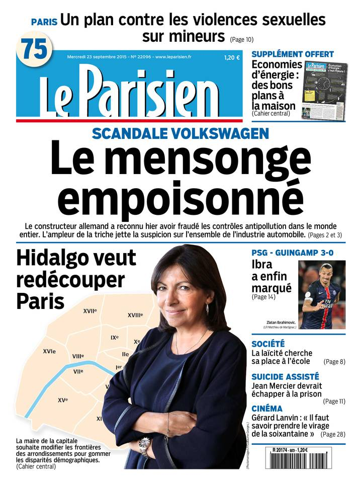 Le Parisien + Journal de Paris du Mercredi 23 Septembre 2015