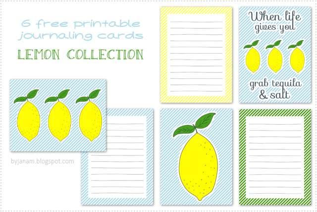 Blogparade Zitrone - Free Printable Journaling Cards