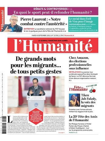 L'Humanite Du Mardi 8 Septembre 2015