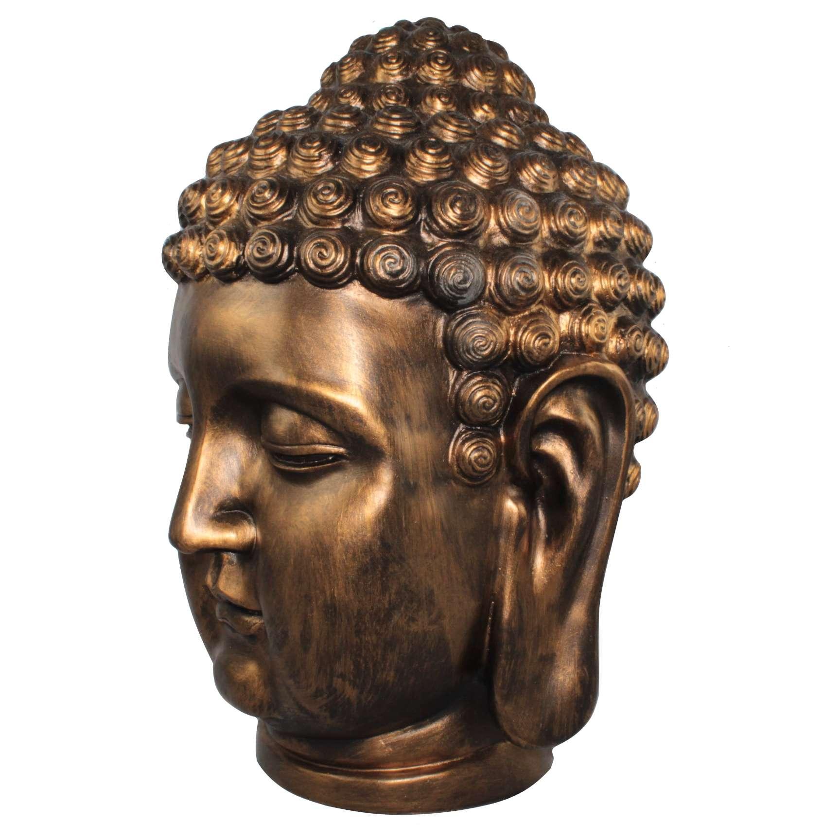 xxl deko buddhakopf bronze buddha design figur kopf. Black Bedroom Furniture Sets. Home Design Ideas