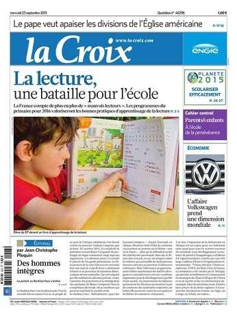 La Croix Du Mercredi 23 Septembre 2015