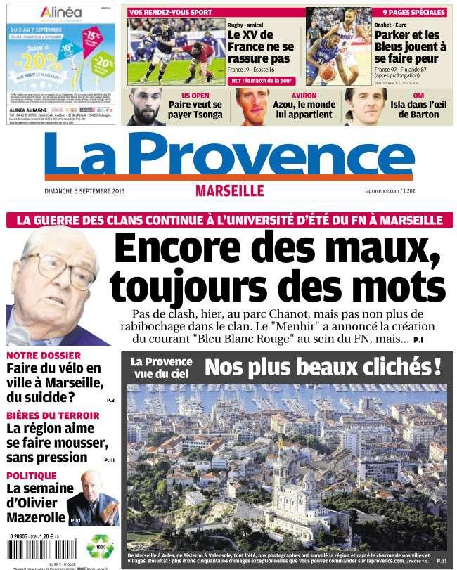 La Provence Marseille du dimanche 6 septembre 2015