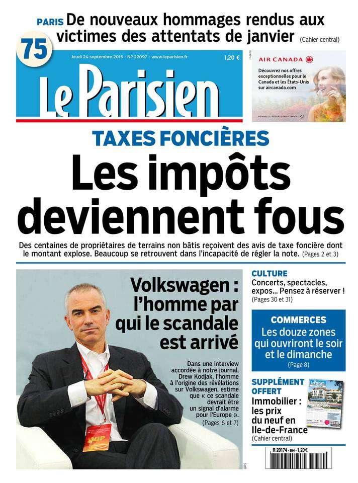 Le Parisien + Journal De Paris du Jeudi 24 Septembre 2015