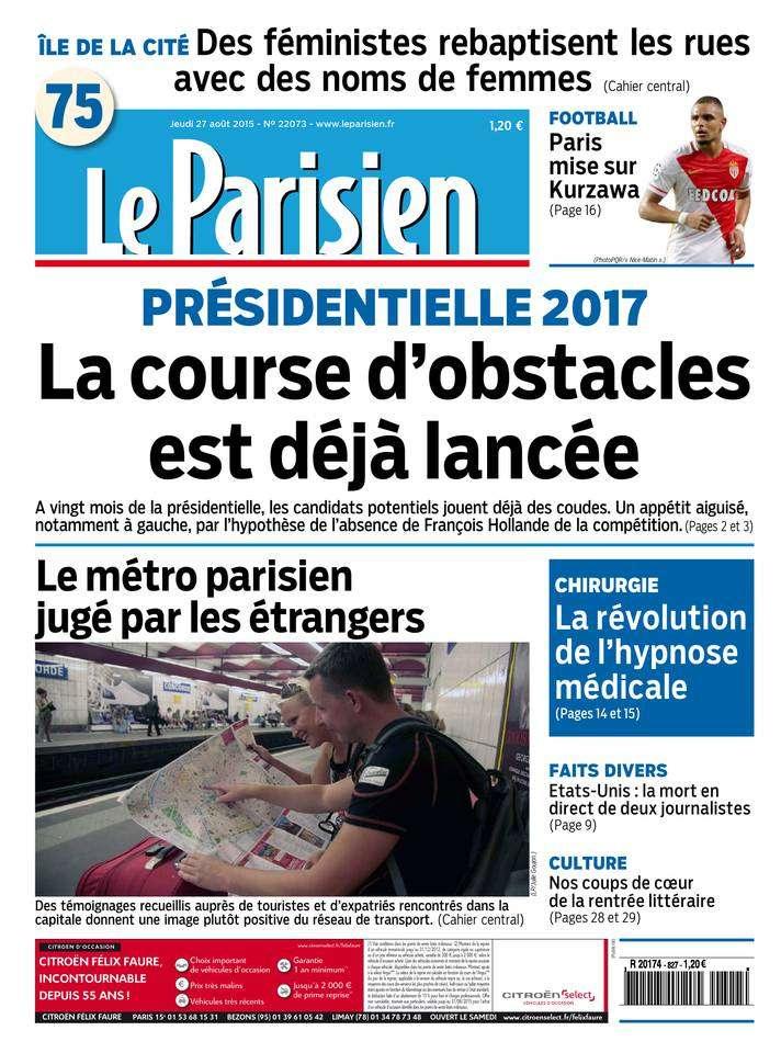 Le Parisien + Journal de Paris du Jeudi 27 Août 2015