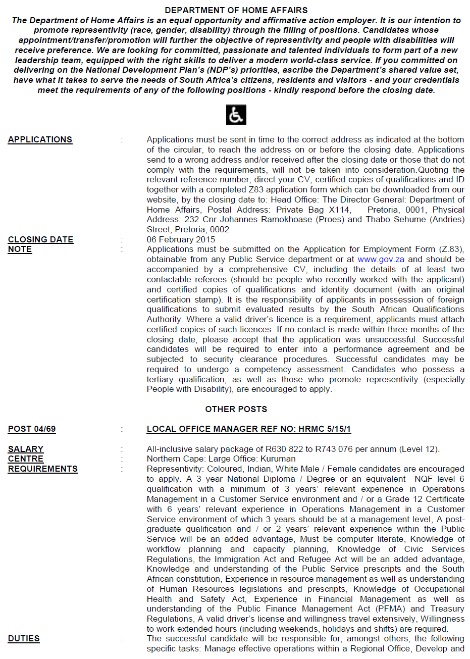 Home Affairs Circular 04 Of 2015   DPSA Vacancies
