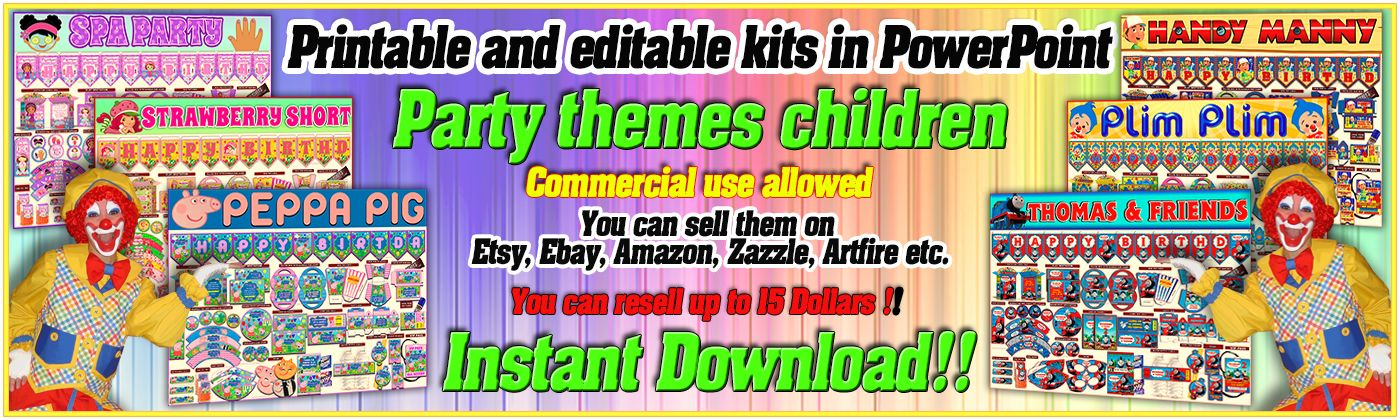 KITS PARTY PRINTABLES RESALE RIGHTS