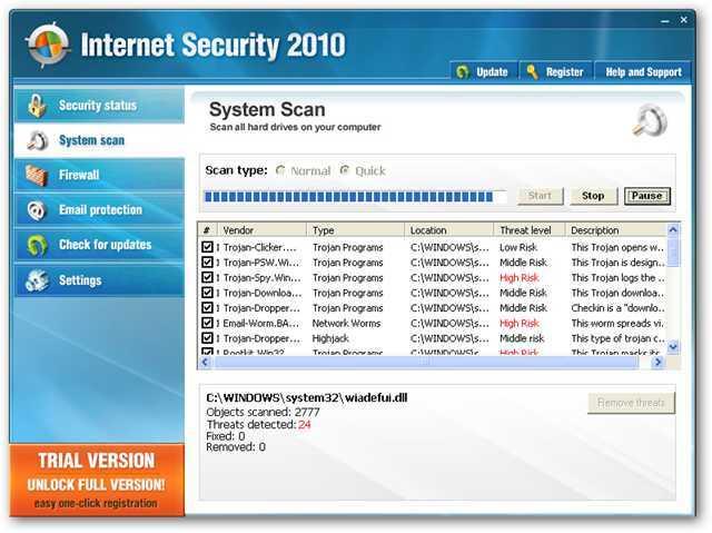 Usuń Internet Security 2010
