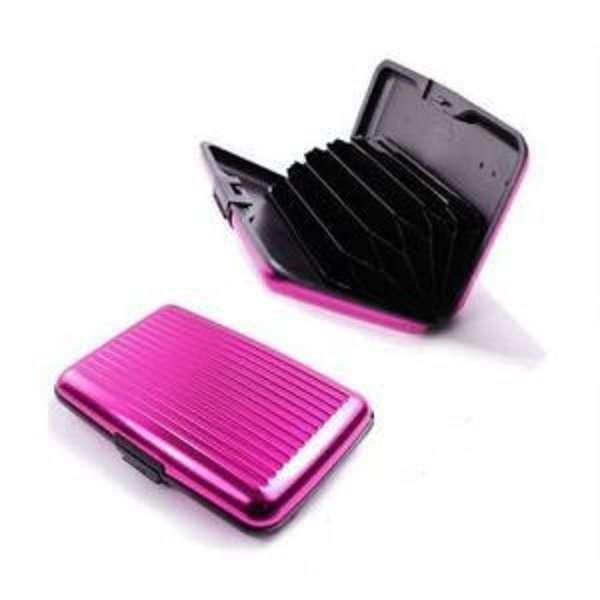 astucieux boitier etui porte carte rose en aluminium cartes bancaires ebay. Black Bedroom Furniture Sets. Home Design Ideas