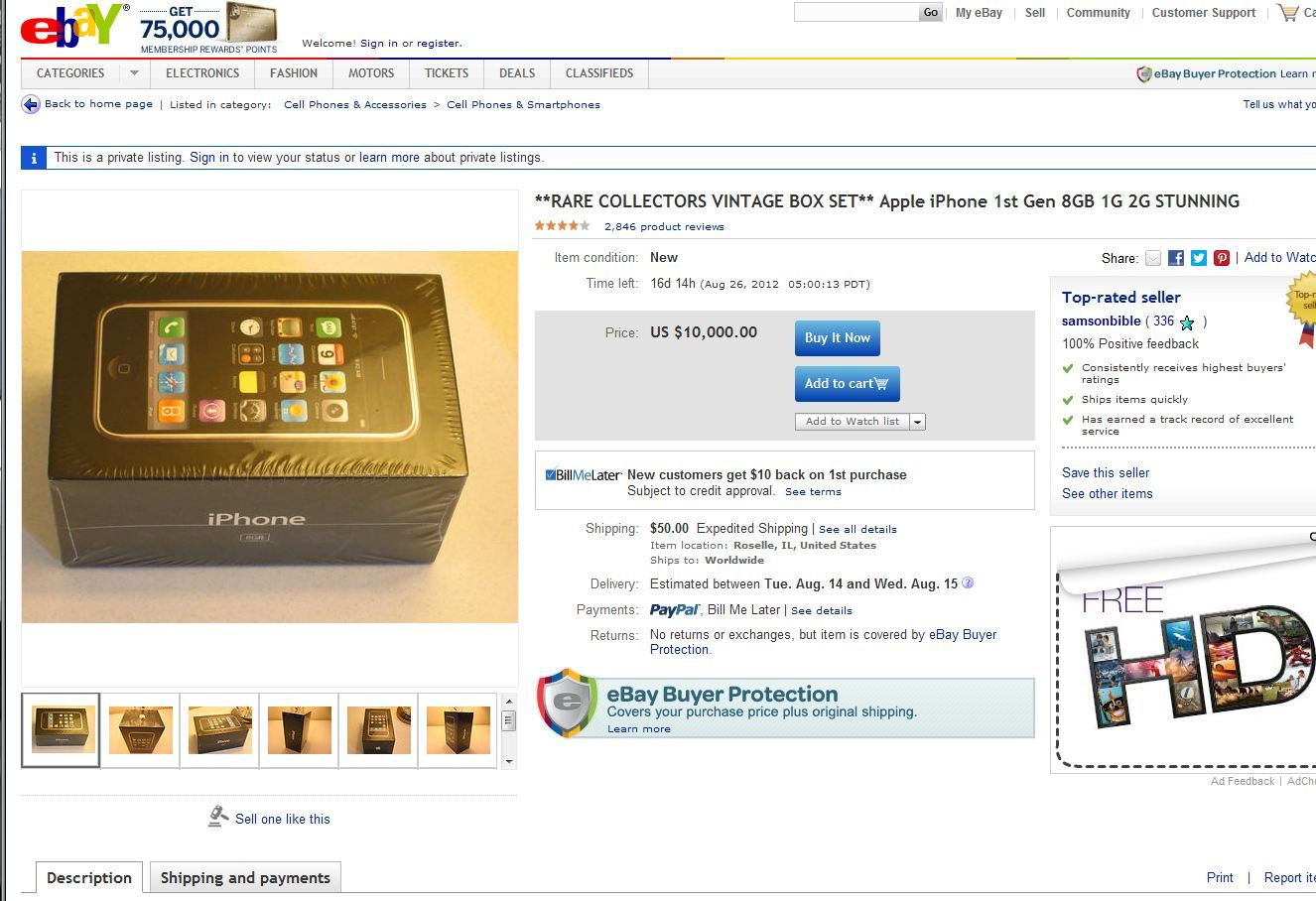 > WTF...Unopened first-gen iPhone appears on eBay for $10,000!! - Photo posted in BX Tech | Sign in and leave a comment below!