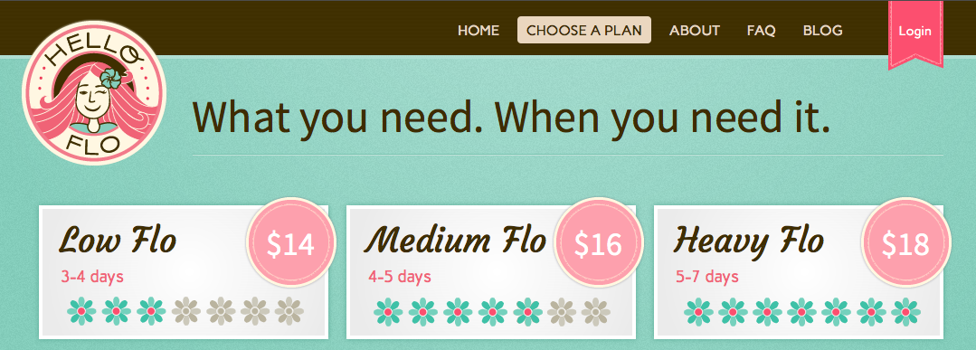 HelloFlo monthly subscription service