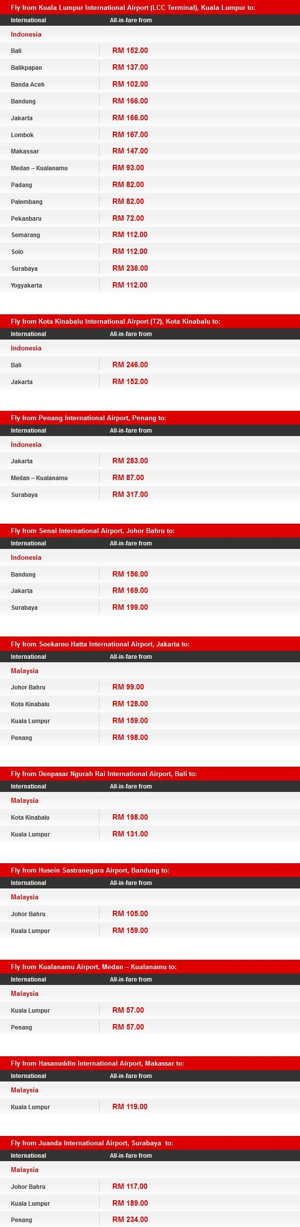 AirAsia Promotion to Indonesia Fares Details