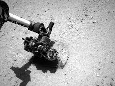 This image shows the robotic arm of<br /> NASA&#39;s Mars rover Curiosity with the<br /> first rock touched by an instrument<br /> on the arm.<br /> Image credit: NASA/JPL-Caltech <br /> <span style='color: #0000FF'><a href='http://www.nasa.gov/mission_pages/msl/multimedia/pia16220.html' class='bbc_url' title='External link' rel='nofollow external'>� Full image and caption</a></span>
