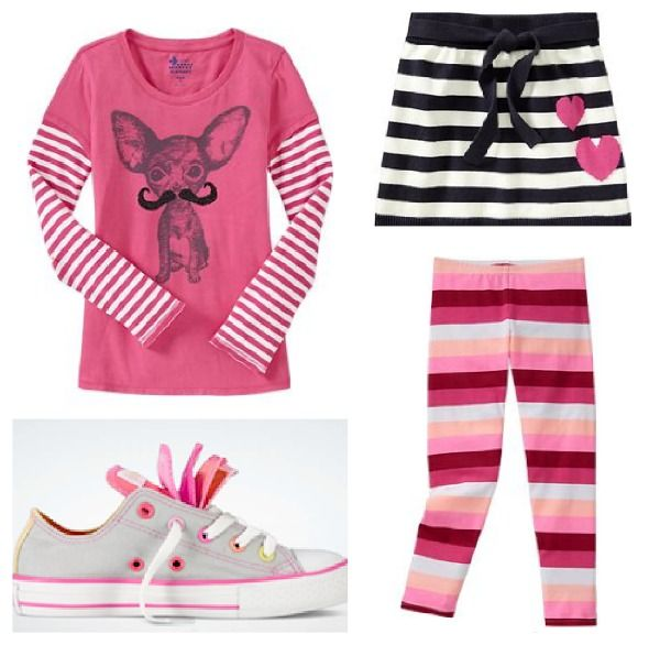 Old Navy Outfit for Girls - graphic stripes