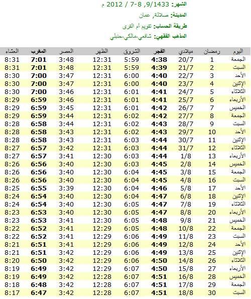 امساكية رمضان 2012