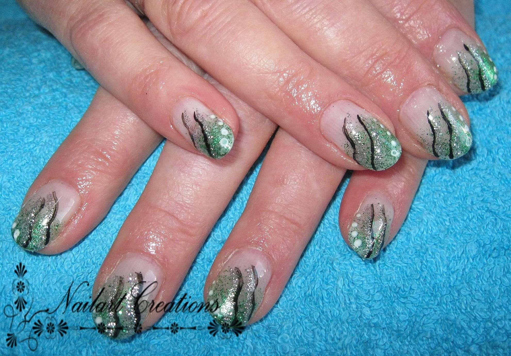 Nailart Creations Gelnagels Green Glitter Nailart
