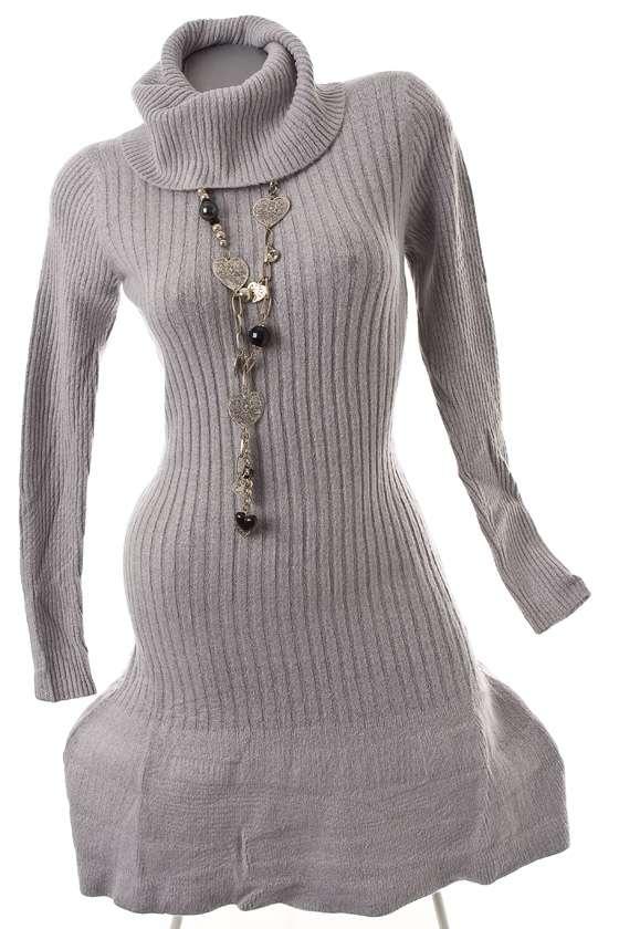 luxus mohair wolle strickkleid winter stiefelkleid weich warm grau 40 42 ebay. Black Bedroom Furniture Sets. Home Design Ideas