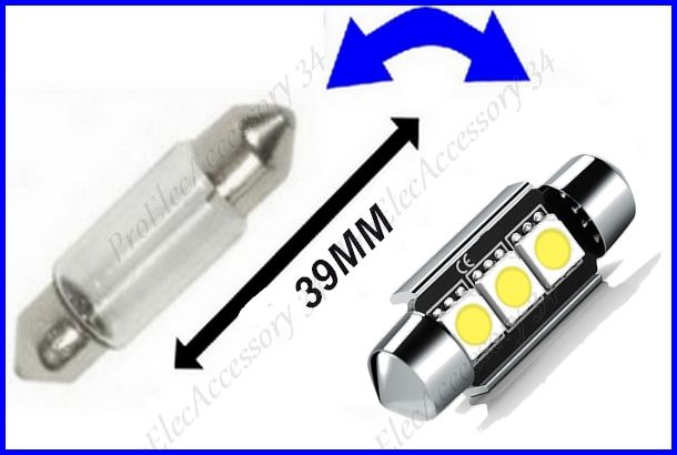 2 ampoule navette a 3 led smd c5w 39mm anti erreur blanc. Black Bedroom Furniture Sets. Home Design Ideas