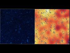 The image on the left shows a portion of<br /> our sky, called the Bo�tes field, in<br /> infrared light, while the image on the<br /> right shows a mysterious, background<br /> infrared glow captured by NASA&#39;s Spitzer<br /> Space Telescope in the same region of sky.<br /> Image credit: NASA/JPL-Caltech/Carnegie&nbsp;&nbsp; <br /> <a href='http://www.nasa.gov/mission_pages/spitzer/multimedia/pia16215.html' class='bbc_url' title='External link' rel='nofollow external'>� Full image and caption</a>