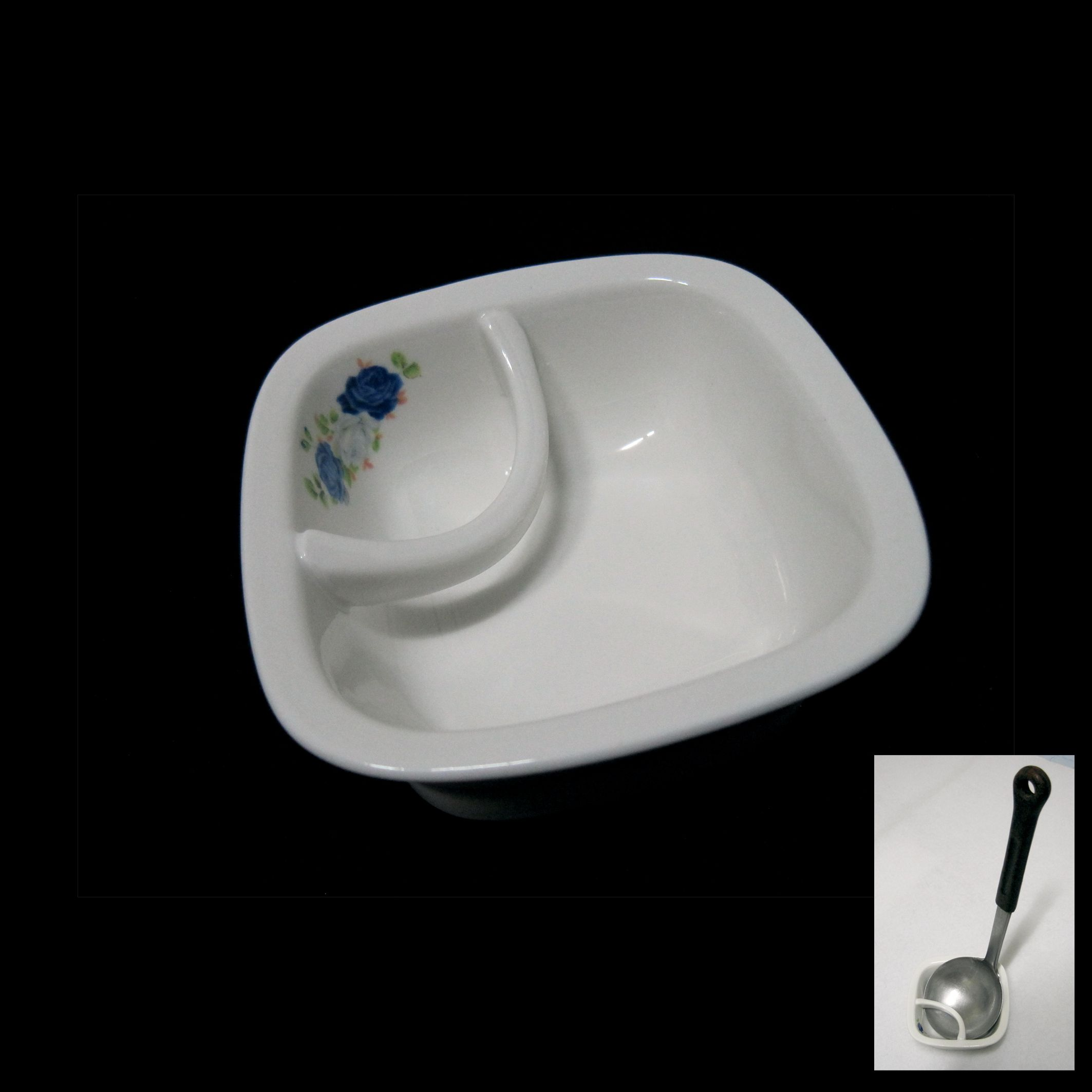 Ceramic Rose Pattern Square Ladle Rest Rice Paddle Stand