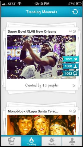 Moment.me social media app compiles content from common events