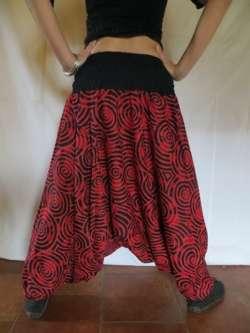 Sarouel femme ethnique vetements hippie baba cool roopa rouge spiral ebay - Vetements hippie baba cool ...