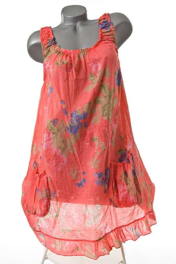neu sommer strand tunika kleid leichte baumwolle gebl mt koralle 40 42 44 ebay. Black Bedroom Furniture Sets. Home Design Ideas