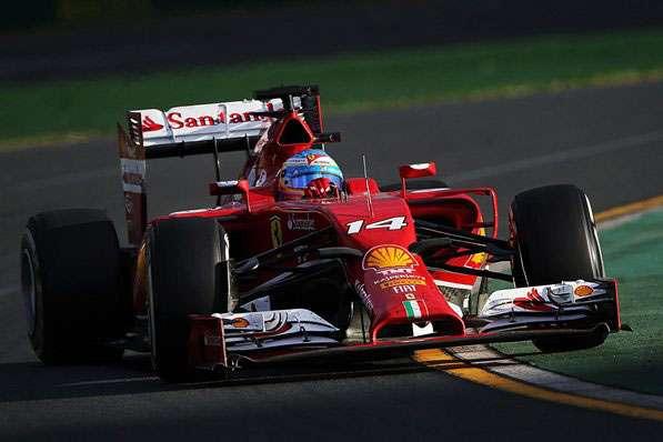 F1 2014 Australian GP Melbourne Albert Park Ferrari F14T Fernando Alonso Powerslide