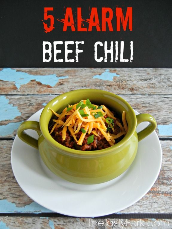 5 Alarm Beef Chili -- a spicy chili recipe on thetastyfork.com. Loaded with spices, ground beef and veggies. Perfect for a cold night or for the Super Bowl!