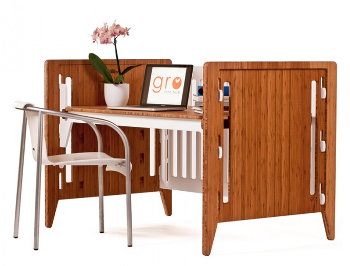 GRO Convertible Crib as a desk