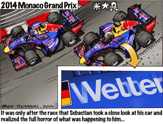 F1 2014 Monaco GP - Mark Webber's shadow is on Sebastian Vettel - 2014 Monaco Grand Prix - Charge - Bruce Thompson, 2014 - It was only after the race that Sebastian took a close look at his car and realized the full horror of what was happening to him...