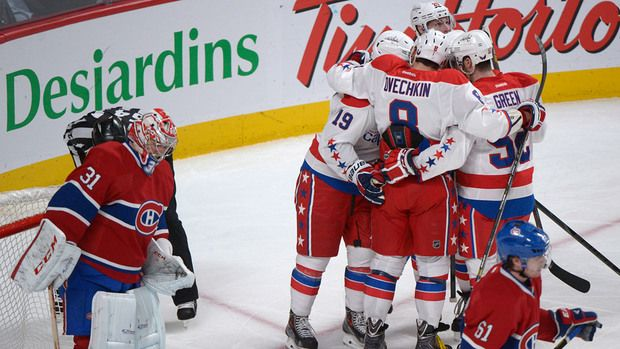 Washington Capitals celebrate after a goal against the Montreal Canadiens Saturday, April 20, 2013.