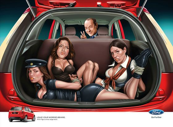 Leave your worries behind. With Ford Figo's extra-large boot. (With Silvio Berlusconi)