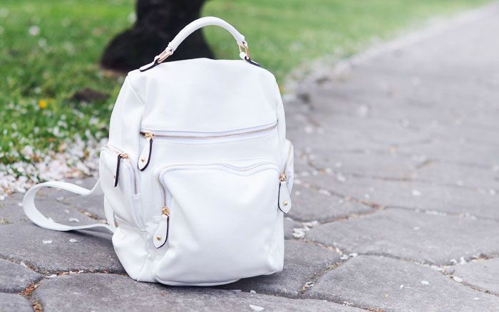 white backpack, accessorize backpack