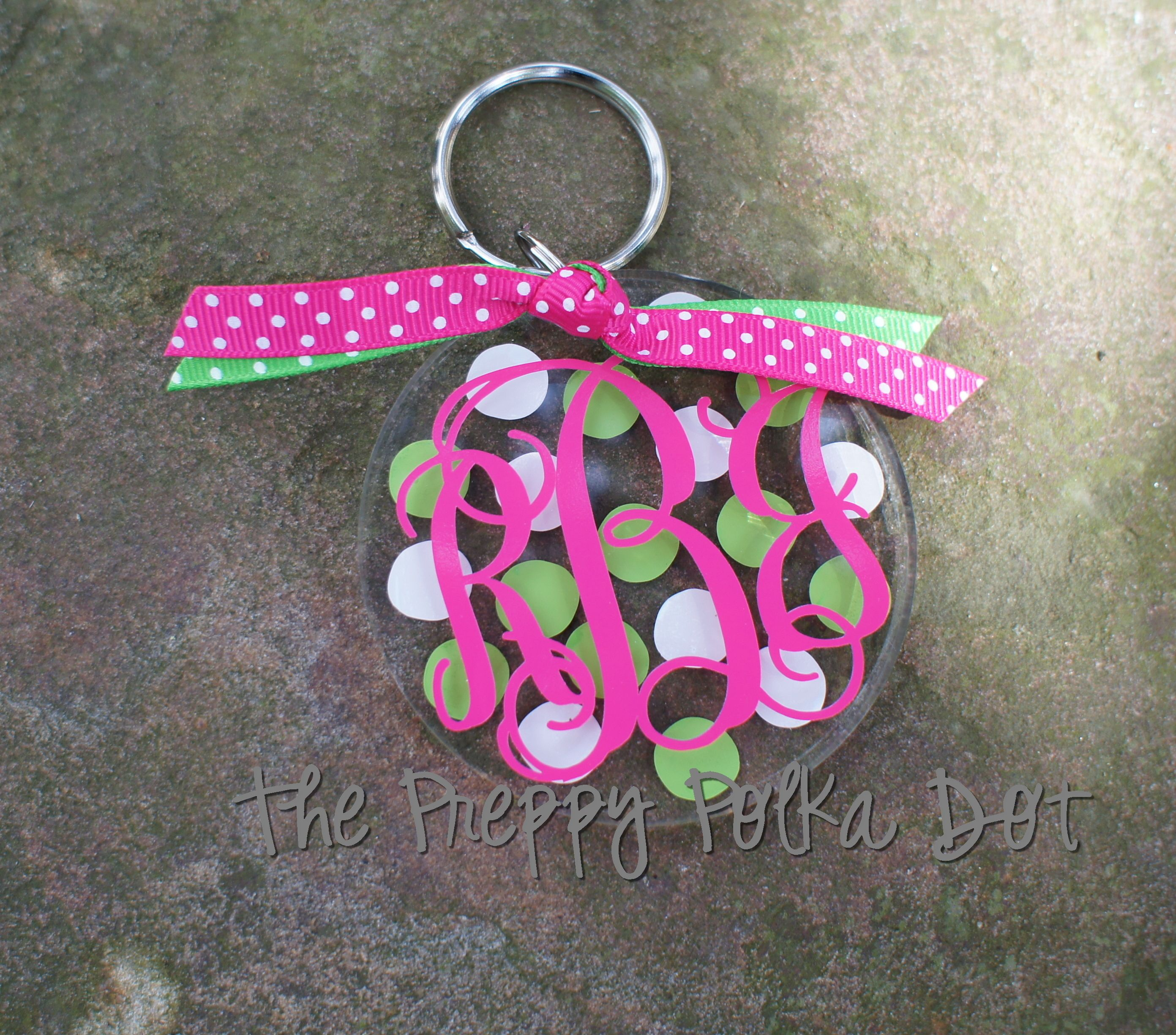 Personalized Polka Dot Monogram Key Chain