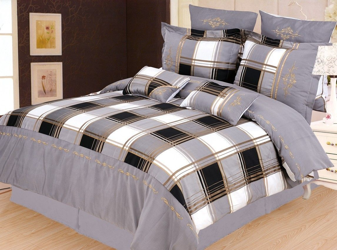 Scotts-sales Luxury 7pc Madison Duvet Cover Grey/White/Black