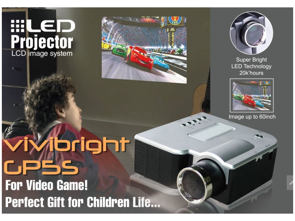 Mini Projetor com HDMI e VGA